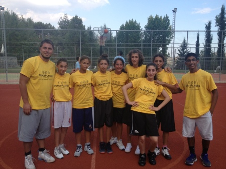 Anurag (far right) with some of his new friends at the PeacePlayers-Cyprus Summer Camp